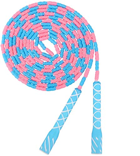 MoKo 16ft Jump Rope for Kids, Soft Beaded Skipping Rope Adjustable Free Segmented Tangle-Free School Long Jumping Rope Workout Fitness Girls Boys Kids Jump Rope for 4-5 Jumpers - Blue