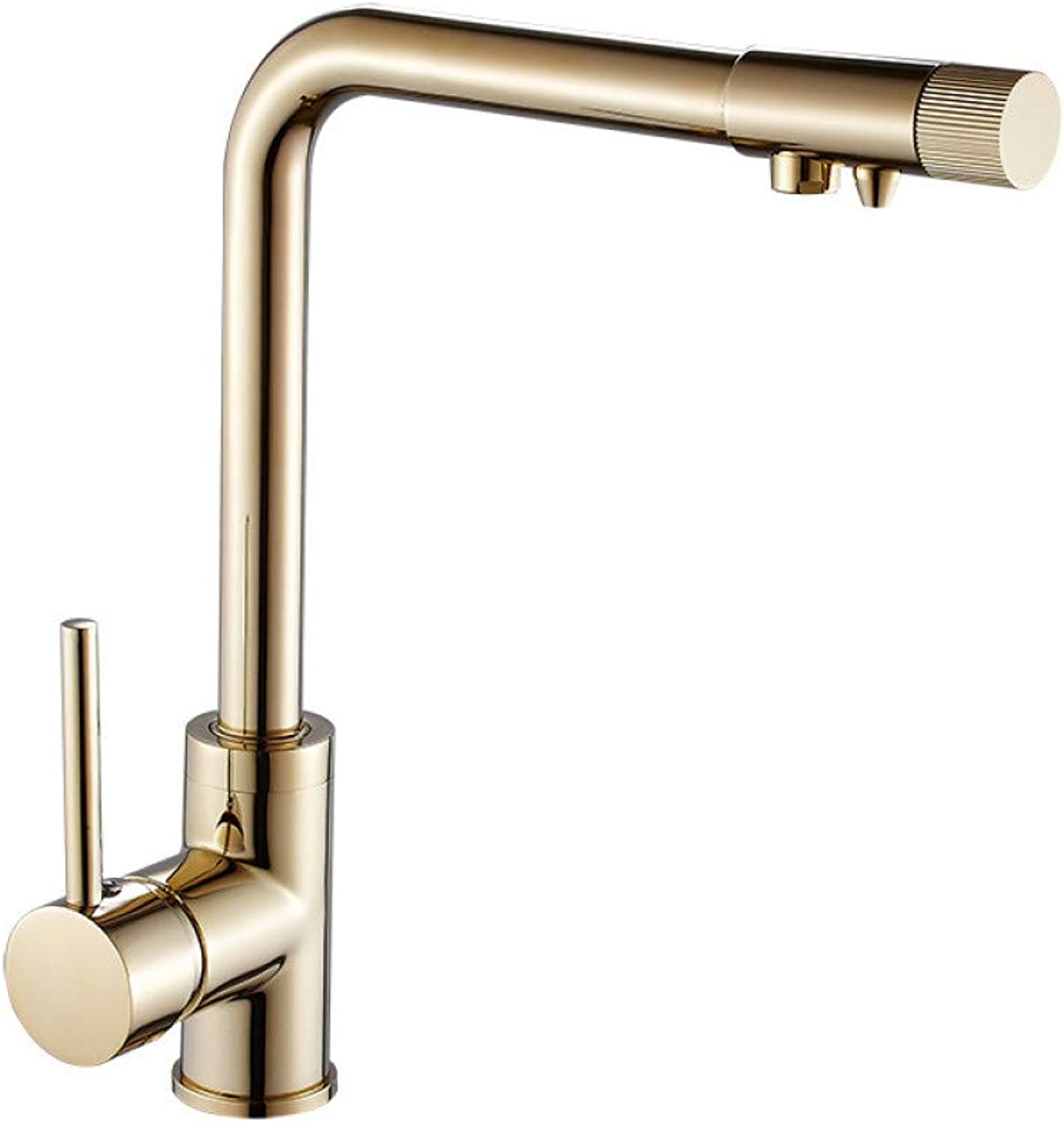 YHSGY Kitchen Taps Copper golden Hot and Cold Kitchen Water Purifier Double Faucet Sink redates Out of The Water