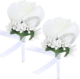 Febou Boutonniere 2PCS Wedding Boutonniere Handmade Rose Boutonniere Corsage with Pin and Clip for Groom Bridegroom Groomsman Perfect for Wedding, Prom, Party (2 Packs, White)