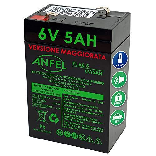 Batteria Gel di Piombo per: Moto,quads, Veicoli Giocattolo 6V 5Ah (sostituisce Anche 4Ah 4,5Ah)