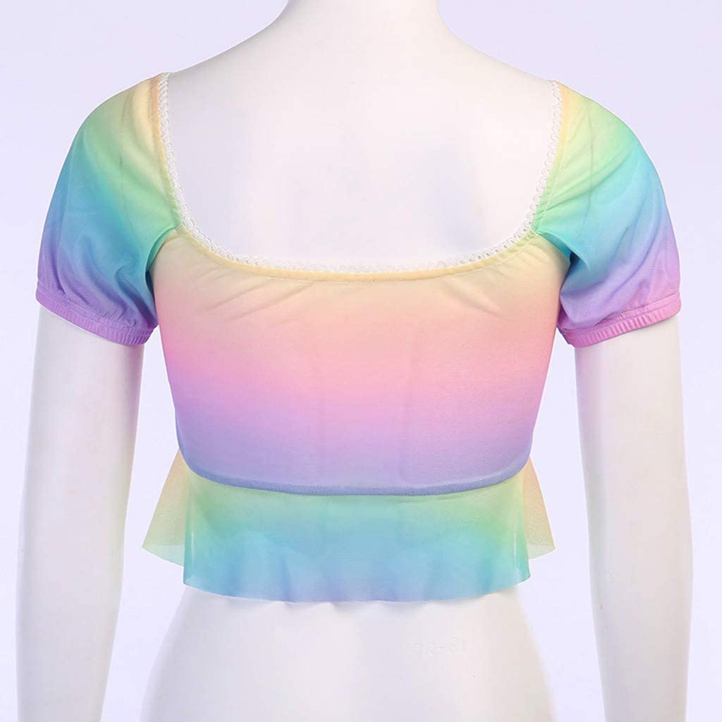 Portazai Crop Tops for Women Sexy V Neck Short Sleeve T-Shirts Lace Up Summer Camisole Cami Top Color Block Tanks