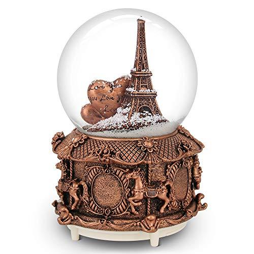 Paris Snow Musik Globe mit Farbe wechselnde LED-Lichter, Eiffel Tower Snow Globe mit Merry-Go-Round Boden, 15,2cm hoch Souvenirs Collection