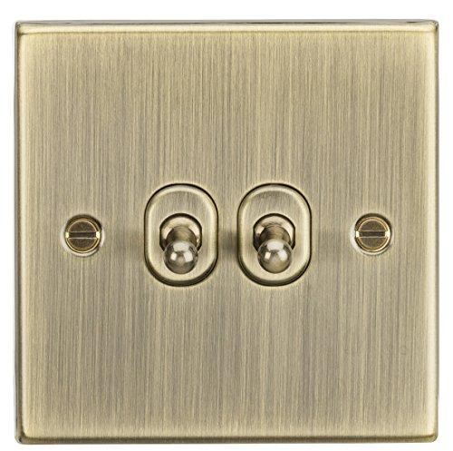 Knightsbridge CSTOG2AB - Interruptor de palanca de 2 vías (latón envejecido, 10 A, 2 G, borde cuadrado)