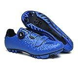 tangjiu Zapatillas de Bicicleta Unisex con Cerradura, Zapatillas de Bicicleta de Montaña Transpirables, Zapatillas Deportivas Antideslizantes Resistentes Al Desgaste Profesionales (Azul,37EU)