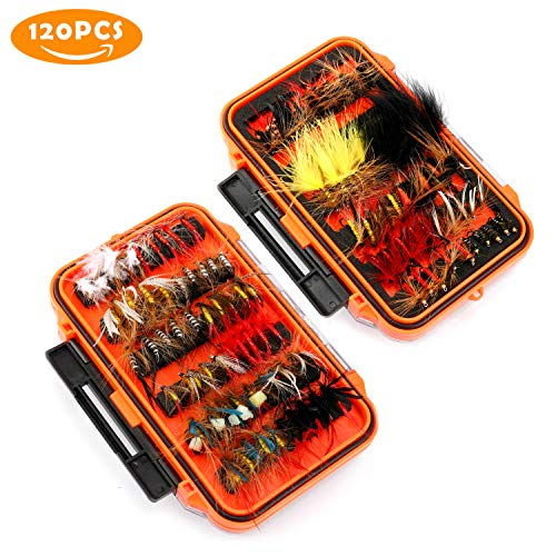 Magreel Fly Fishing Flies Kit with Box, Dry Wet Flies, Nymphs,...