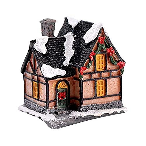 YuKeShop 4 piezas de Navidad casa de pueblo mini villa decoracin de la casa de la planta de la maceta de la figura del paisaje de los accesorios para la planta del musgo maceta miniatura