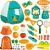 AOKIWO 45PCS Kids Camping Tent Set, Pop Up Play Tent with Camping Gear Tools Indoor Outdoor Pretend...