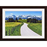 GREATBIGCANVAS Countryside Near The Alps with Espresso Framed Wall Art Print, Home Decor, 30'x20'.75'