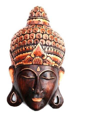 OMA Buddha Mask Wall Hanging Decor Wood Carved Vintage Style Buddha Head Wall Art Meditation Decor Hand Crafted XL Size