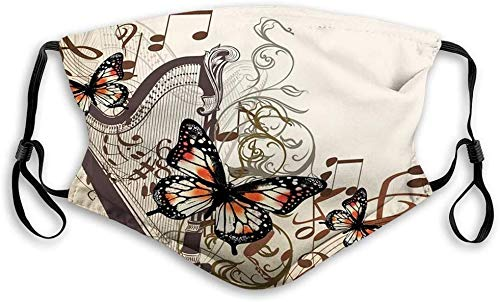 'N/A' Keregugu Comfortable Printed Bandana, Butterflies, Harp Ornament And Butterflies Classic Musical Instrument Concert Theme, Cream Orange Black