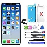 QTlier Écran de Rechange pour iPhone X 5.8', LCD Écran Tactile Digitizer Assembly avec Kit De Réparation Complet + Protecteur D'écran + Adhésif Étanche (Noir)