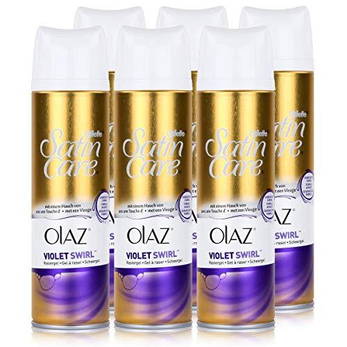 Gillette Venus Satin Care Violet Swirl mit einem Hauch von Olaz Rasiergel 200 ml (6er Pack)