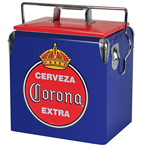 Corona CORVIC-13 Stainless Steel Retro Ice Chest - (14 Quarts/13 Liters) 18 Can Capacity, Corona Cooler for Camping, Car, Home, Beach or Picnic, with Bottle opener 13 Liters Blue