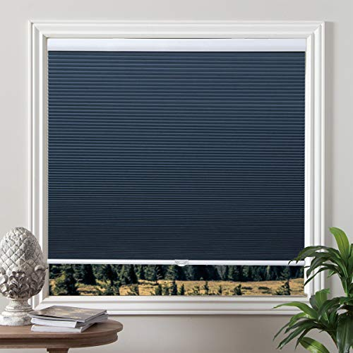 Grandekor Cellular Shades Blackout Cordless Cellular Blinds Honeycomb Blinds Window Shades Room Darkening Shade Ocean Blue-White, 27'(W) x 64'(H)