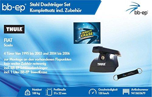 BB-EP/Thule 9413653679 Complet Premium de Toit en Acier pour Fiat Scudo 4 Portes Van 1995 à 2003, 2004 à 2006 – Kit Complet verrouillable pour clés et® Insect Erase