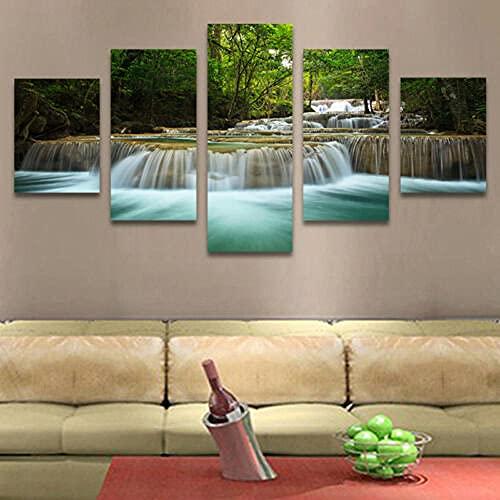 IJNHY 5 Piezas Lienzos Cuadros Pinturas Naturaleza de la Cascada Impresiones En Lienzo Decoración para El Arte De La Pared del Hogar, Salón Oficina Mordern Decoración Artística