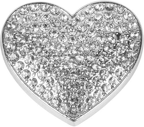 styleBREAKER Damen Magnet Schmuck Brosche in Herz Form mit Strass, für Schals, Tücher oder Ponchos, Anhänger 05050081, Farbe:Silber