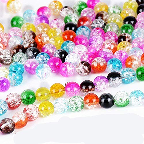 Craftdady 720Pcs 6 Colors Transparent Tiny Acrylic Round Spacer Beads 6mm 8mm 10mm Loose Pony Beads for Jewelry Making