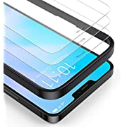 BANNIO (3 Packs) Screen Protector Compatible with iPhone 12 Pro Max (6.7 Inch),Premium HD Clarity 0.25mm Tempered Glass Screen Protector (Guidance Frame Include),Full Screen Protection film,Clear