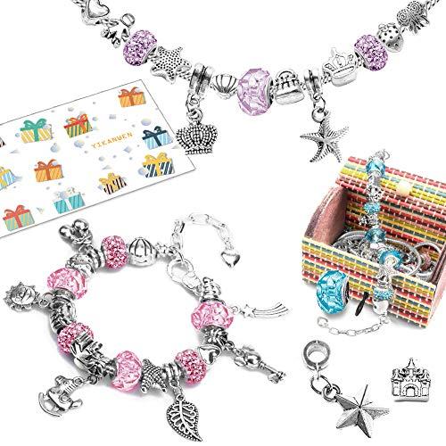 YIKANWEN Geschenk für Mädchen - Charm Armband Kit DIY, Schmuck Bastelset Mädchen,Armband Mädchen Geschenke 6-12 Jahre