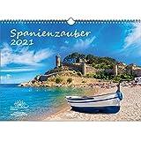 Spanienzauber DIN A3 Kalender für 2021 Spanien - Geschenkset Inhalt: 1x Kalender, 1x Weihnachtskarte (insgesamt 2 Teile)