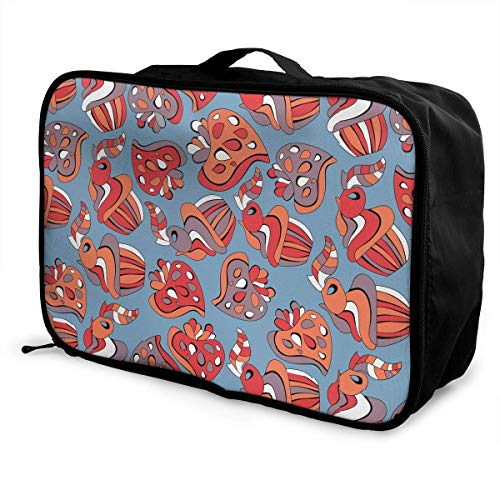Qurbet Bolsas de Viaje, Red Blue Orange Pattern Overnight Carry On Luggage...