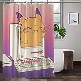 Pokemon Aquarell-Duschvorhang-Set, wasserdicht, Badezimmer-Gardinen, Heimdekoration, mit 12 Haken