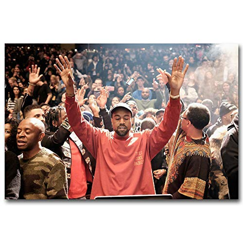 Kanye West The Life Of Pablo ,Rap HipHop Super Star,FINDEMO Wall Art Home Wall Decorations for Bedroom Living Room Oil Paintings Canvas Prints-303 (Framed,24x36inch)