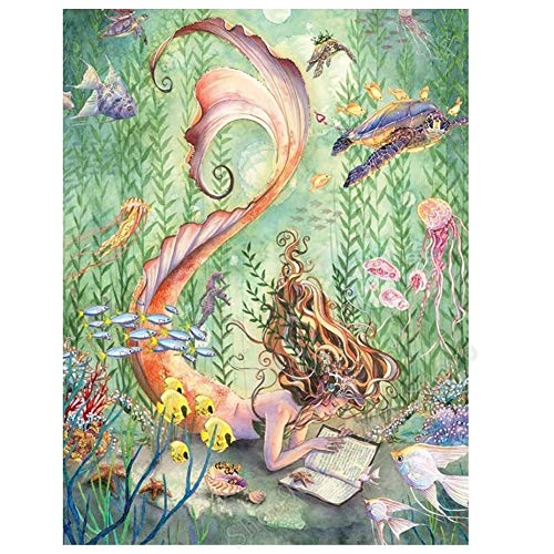 DIY 5D Diamond Painting by Number Kits Large Size,Mermaid Undersea 24x48in Diamonds Dot Round Full Drill Crystal Cross Stitch Canvas Wall Art Decor 60x120cm