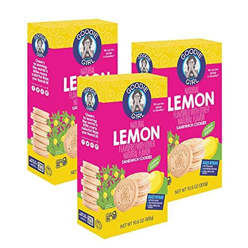 Goodie Girl Lemon Sandwich Cookies, Gluten Free, Vegan, Peanut Free, Egg Free, Dairy Free, No High Fructose Corn Syrup, Kosher Dairy, Made in the USA (10.6oz Box, Pack of 3)