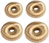 Nihexo Juego de 4 moldes para moños de donut, moldeadores de moño para cabello, moño de donut para cabello, moño para mujeres y niñas (oro claro)