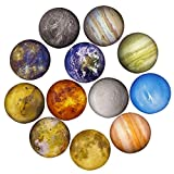 12 Planetary Series Fridge Magnets Beautiful Glass Creative Pushpins for Whiteboard Office Calendar Decorative Popular Home Wall Décor Set (12 Planetary)