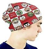 Sombrero Navidad Tela Escocesa roja Ciervo Regalo Gorro Chica Cráneo cálido Sombrero de Punto Unisex Slouchy Soft Kid Cap