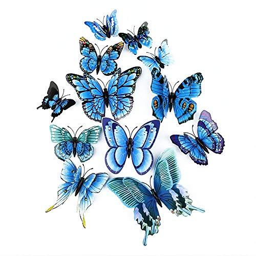 LERT 3D Mariposa Engomadas de doble alas, Hogar Pared Decoración, Mariposa de Artesanal, Adhesivo de Pared de Mariposa, 12 Piezas (Azul)