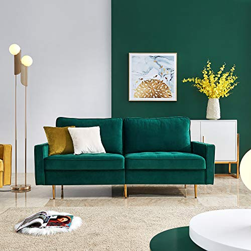 Emerald Green Velvet Fabric Sofa Couch,JULYFOX 71 inch Wide Mid Century Modern Living Room Couch 700lb Heavy Duty with 2 Throw Pillows