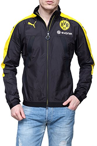 PUMA Herren BVB Stadium Vent Jacket with Sponsor Logo Jacke, Black-Cyber Yellow, S