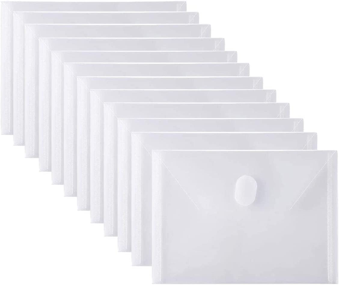 12 Packs Clear Plastic Small Envelope with Hook & Loop Closure 5 x 7 Ploy Envelope for Receipe/Check