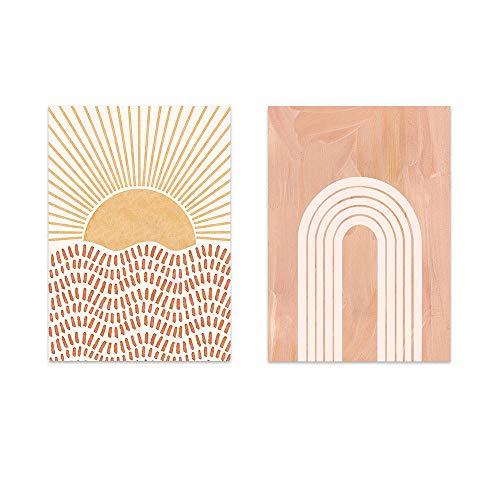 Boho Wall Art Sun Abstract Line Lienzo Pintura Mid Century Burn Orange Póster e Impresiones Sala de Estar Moderna Rainbow Cuadros Decor 40x50cmx2 Sin Marco