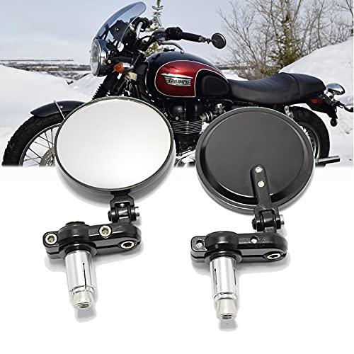 Espejos universales negros para motocicleta, espejos retrovisores ovalados con extremo de barra de manija de 7/8'para Scooter Cruiser Chopper Street Bike