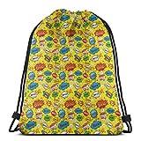 fgjfdjj Humor Speech Bubbles Funky Vivid Bang Boom Bam Pow Fiction Design Rope Bag Gym Sack Mochila Deportiva Mujeres Hombres Divertido Práctico Cómodo Robusto Cordón