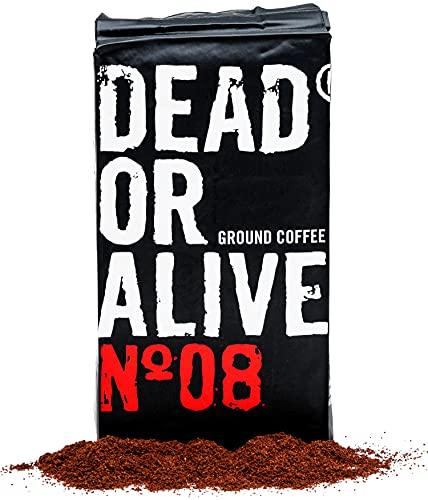DEAD OR ALIVE Moka N08 - 250g gemahlener Kaffee - starker und säurearmer Mokka Kaffee - feinste Robusta mit wenig Arabica Bohnen - Zubereitung mit der Herdkanne - Mokka für die Bialetti (250)