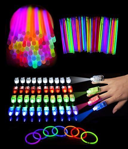 SKKSTATIONERY 440 Pcs Glow Light Up Toys Set 200 PCS 8 Glow Sticks 40 Pcs LED Finger Lights product image