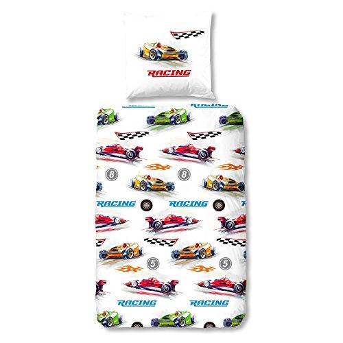 Good Morning 6217 Parure de lit Motif voiture de course Multicolore 135 x 200 cm + 80 x 80 cm