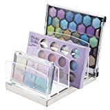 mDesign Organizador de maquillaje en plástico – Clasificador con 5 compartimentos para organizar maquillaje – Bandeja organizadora para lavabo, tocador o armario – transparente/plateado