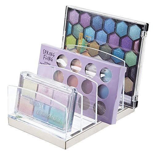 mDesign Kosmetik Organizer aus Kunststoff – Schminkaufbewahrung mit 5 Steckplätzen – Aufbewahrungsbox für den Waschtisch, Schminktisch oder Schrank – durchsichtig und silberfarben
