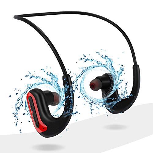 HUICCN Schwimmen Kopfhörer Bluetooth, Stereo Earphones IPX8 In Ear Ohrhörer mit Geräuschunterdrückung Mikrofon für Sport, für Android iPhone Samsung, Rot