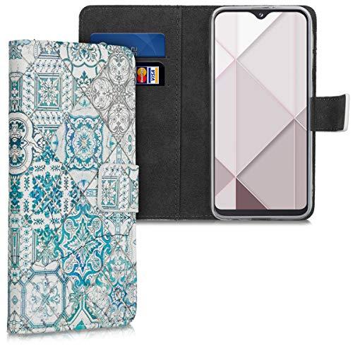 kwmobile Carcasa Compatible con Samsung Galaxy A20e - Funda de Cuero sintético Azulejos Cuadrados - con Tarjetero