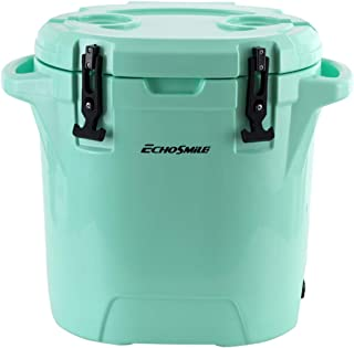 EchoSmile 27 Quart Rotomolded Cooler Seafoam Green Ice Chest with Built-in Cup Holders, Round Ice Cooler Keep Ice up to 5days, Jockey Box DIY
