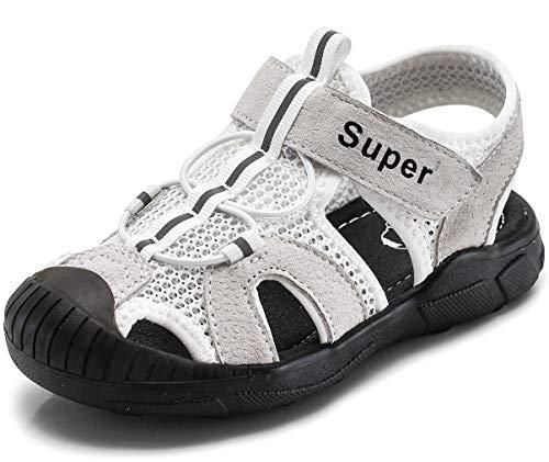 Gaatpot Kinder Sandalen Mädchen Jungen Sport Outdoorsandalen Geschlossene Strand Sandale Schuhe Outdoor Lauflernschuhe Sommer Weiß 27 EU/26 CN