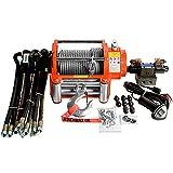 WINCHMAX Cabrestante hidráulico máx. 10000 lb / 4536 kg, cable de acero galvanizado de 25 mx 9,5 mm. Gancho de bisagra de acero de 3/8 de pulgada. Sistema de control hidráulico completo CETOP3.